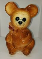Vintage Royal Copley Teddy Bear Planter Vase With Red Bow