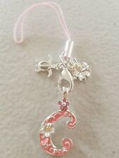 """Letter initial""""C pink""""Hibiscus Cell Phone Charm Mobile PSP Strap Hawaiian Hawaii"""