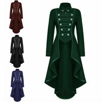 Women Ladies Gothic Steampunk Victorian Swallow Long Trench Party Coat Jacket