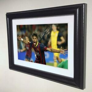 Signed Neymar JN Barcelona Photo Photograph Picture Frame Autographed sml 1