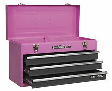 LIMITED EDITION PINK TOOLBOX 3 DRAWER TOOL CHEST BALL BEARING SLIDES