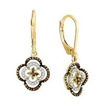 Chocolate Brown & White Diamond Earrings 10K Yellow Gold Leverback Dangles .35ct