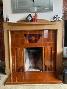 Art Deco Tiled Inset And Oak Fire Surround Repro