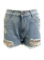 sh44 CFLB Ladies Vintage High Waisted Ripped Denim Shorts Frayed Hem 8 10 12