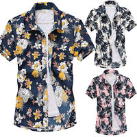 Mens Hawaiian Boho Floral Short Sleeve Shirt Dress Party Summer Casual Tee Tops