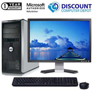 Dell Optiplex Tower Windows 10 Desktop Computer PC Intel C2D 250GB 19 LCD WiFi