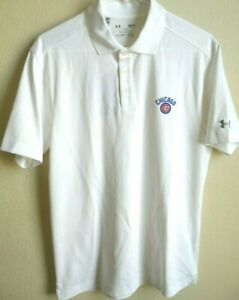 MLB Under Armour Heat Gear Chicago Cubs Baseball Polo Shirt S NWT 1285495