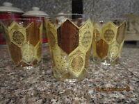 Vintage CERA NED HARRIS MCM Barware WHISKEY Glass Set Of 4 Gold Pineapple MINT