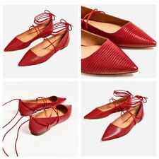 ZARA RED EMBOSSED LACE-UP BALLET FLATS SIZE UK 4 37  REF. 7265/101