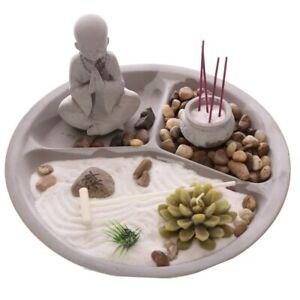 Large Round Zen Garden & Buddha - Incense Tea Light Candle Holder Gift Set Box