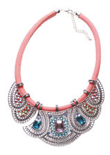 Statement Blue, Pink & Pale Green Diamante Bib & Orange Chord Necklace(Ns12)