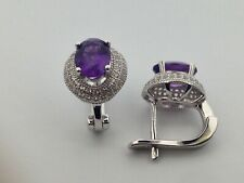 Sterling Silver Earrings with Amethyst & White Sapphire