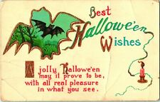 c1915 Antique Gel Coated Embossed Halloween Postcard Bats Gilding a53