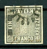 """Bayern: Mi.Nr.1IIa gMR """"14"""" Schwarzer Einser Befund Stegmüller BPP. Mi: 2000,-"""