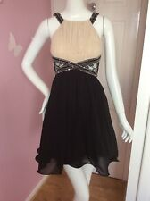 Little Mistress London Black Nude Lace Sequin Ruched Ruffle Sexy Party Dress 8