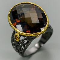 Cognac Quartz Ring Silver 925 Sterling Handmade25ct+ Size 7.5 /R131192