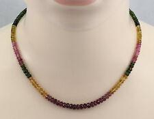 Turmalin-Kette - Turmalin Halskette facettiert rot gelb grün 45 cm lang