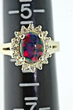 REAL 14Kt Yellow Gold Diamond with Lab Grown Black Opal Heavy Ring Fine Jewelry