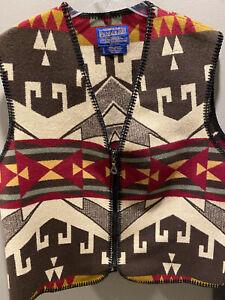 Pendleton Native American Southwestern Blanket Vest Men's Sz L Western Aztec