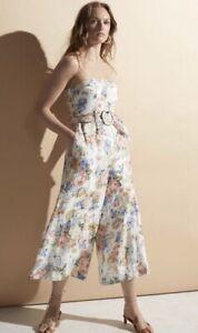 Zimmermann Bowie Strapless Floral-Print Linen Jumpsuit Size 1