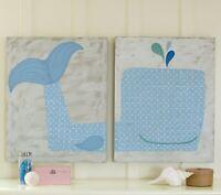 Pottery Barn Kids Large Wall Art Decor Whale Canvas Set Bedroom Playroom Nursery