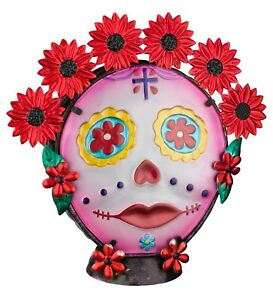 Painted Lady Sugar Skull Day of The Dead Glass Decorative Lamp NEW electric art