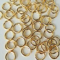 7mm 100 Pack NO SOLDER MAGIC JUMP RINGS gold plate 18 Gauge for jewelry charms
