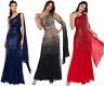 Goddiva Sequin Chiffon Sash One Shoulder Maxi Evening Dress Bridesmaid Prom 8-18