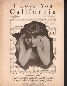 I Love You California 1913 Mary Garden Large Format Sheet Music
