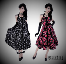 Restyle Retro Black White Witch or Red Flowers Party Dress for Gothic Punk Women