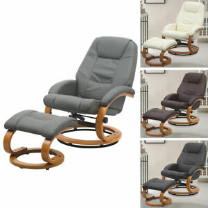 High Back Upholstered Lounge Chair Leather Lumbar Support Leisure Sofa w/ Stool