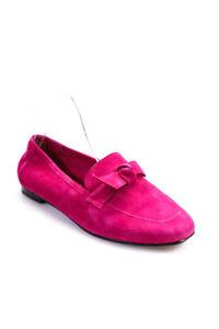 Alexandre Birman Womens Suede Slide On Loafers Fuchsia Pink Size 37 7