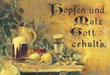 Blechschild 30x20cm Hopfen und Malz Gott erhalt`s Nostalgie Schild Bier Tin Sign