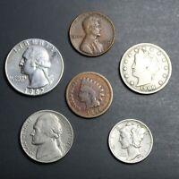 Lot de 5 Pièces Américaines Classiques du XIX et XXème siècle Coins USA