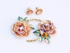 Graziano England's Rose Princess Diana Crystal Enamel Earrings Brooch Pins Set