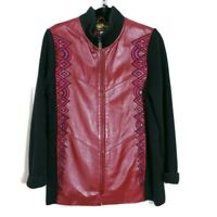 Bob Mackie Womens Jacket Red Leather Knit Sleeve Embroidered Zip Up Vintage Sz S