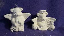 """FREE SHIPPING Angel Bear ornaments 4""""  Ceramic BIsque, Ready To Paint"""