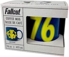 Official Fallout 16 Oz Coffee Mug Vault Boy/Pip Boy/ 76 Blue Ceramic Glass NEW