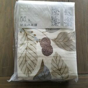 Ikea Stockholm Blad Curtain Panels Natural Leaves pattern, (1 pair) New