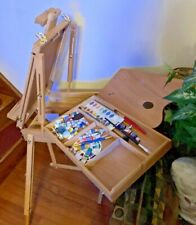 Artist Sketch Wooden Box Easel - Foldable with Adjustable Tripod Display