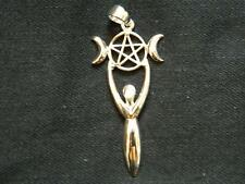PENTAGRAM TRIPLE MOON GODDESS PENDANT/925 Sterling Silver/Pagan/Wicca/Witch