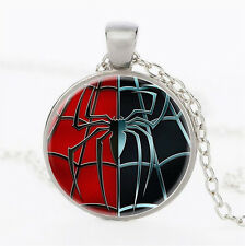 Spiderman logo Photo Cabochon Tibet silver Glass Chain Pendant Necklace 141