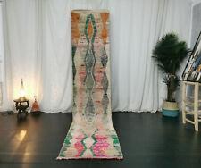 Handmade Moroccan Boujad Vintage Runner 2'x10'8 Geometric Beige Berber Wool Rug