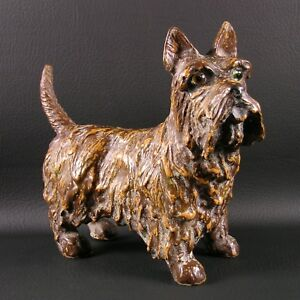 DEPARTMENT 56 Scottie FIGURINE 1990's Brown Finish HTF Scottish Terrier DEPT
