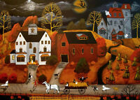5x7 Art Giclee Print HALLOWEEN HAY RIDE cat witch barn farm costume Halloween DC