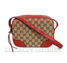GUCCI Original GG Canvas red Leather BREE Camera cross-body Charm bag NWT Authen