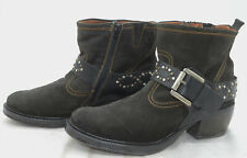 Josef Seibel Womens Sz 39 Western Leather Studded Belted Zippered Ankle Boots