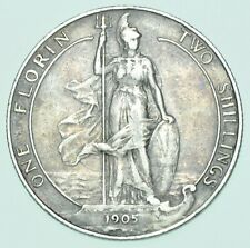 More details for rare 1905 florin, british silver coin from edward vii vf