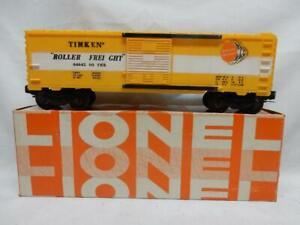 "POSTWAR LIONEL 6464-500 TIMKEN ""ROLLER FREIGHT"" BOX CAR in OB, C-8 LN CONDITION"