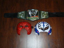 2012 WWE CHAMPION Youth Wrestling Championship Belt & Masks Kane Rey Mysterio